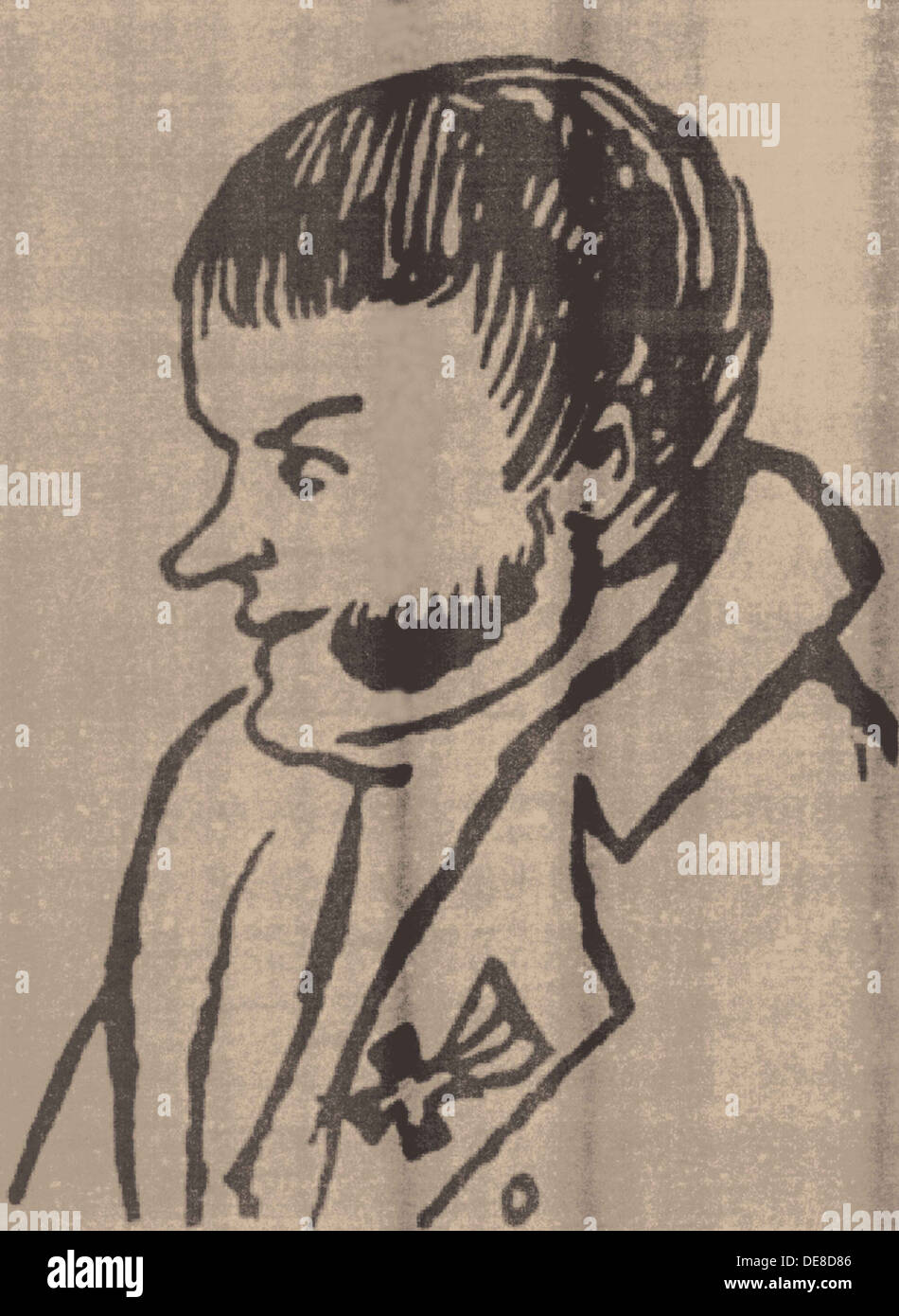 Alexander Petrovich Kunitsyn (1783-1840) Detail of a caricature, 1816. Artist: Illichevsky, Alexey Demyanovich (1798-1837) - Stock Image