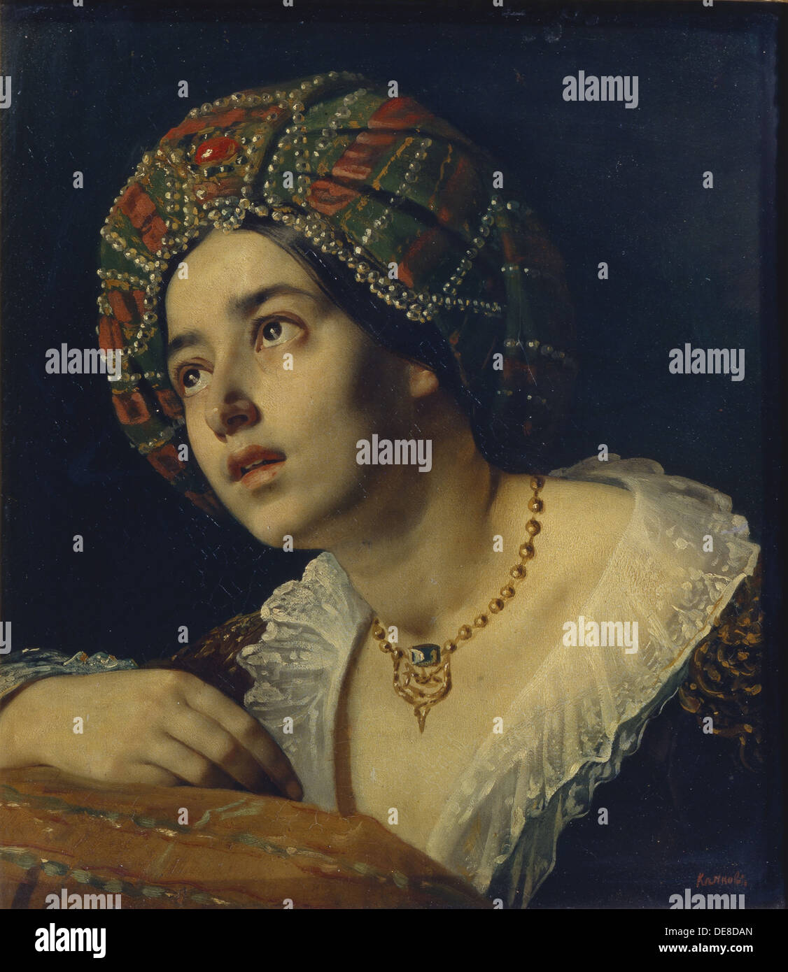 A Turkish woman. Artist: Kapkov, Yakov Fyodorovich (1816-1854) Stock Photo