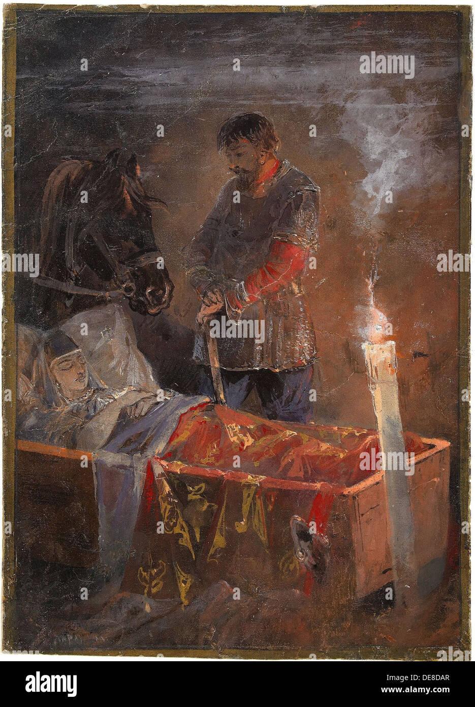 Sleeping Beauty, 1889. Artist: Karasin, Nikolai Nikolayevich (1842-1908) - Stock Image