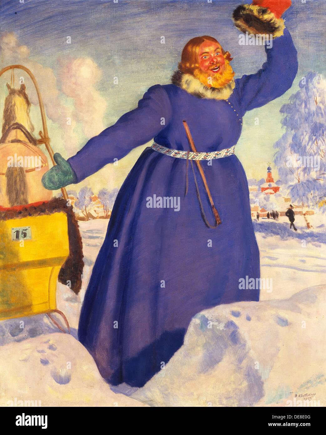 A reckless coachman, 1920. Artist: Kustodiev, Boris Michaylovich (1878-1927) - Stock Image
