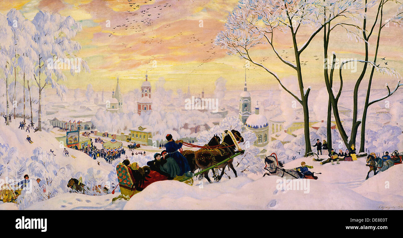 Shrovetide, 1916. Artist: Kustodiev, Boris Michaylovich (1878-1927) Stock Photo