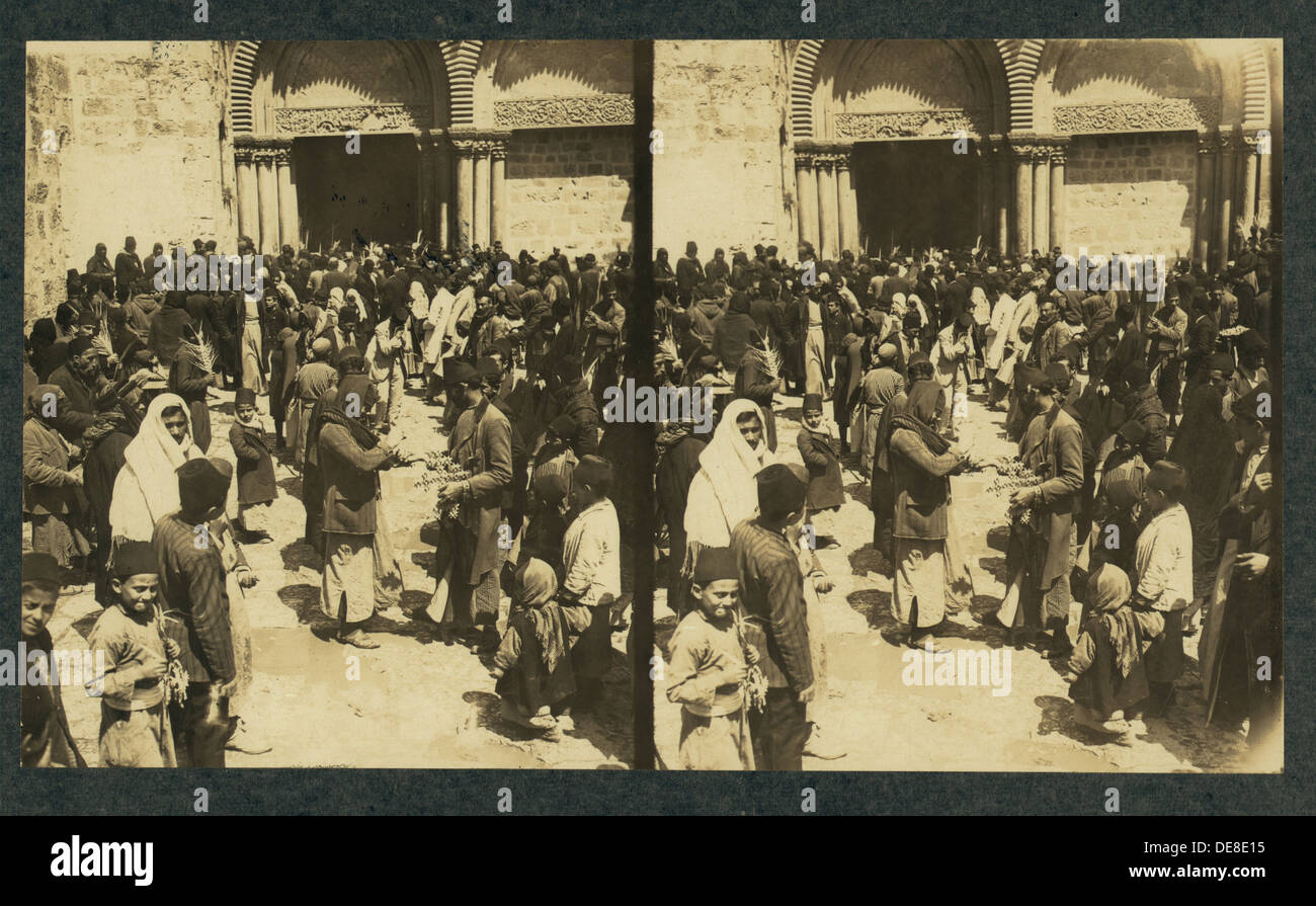 The consecration of Easter Eggs on Easter before the Church of the Holy Sepulchre (Stereograph). Artist: Anonymous - Stock Image