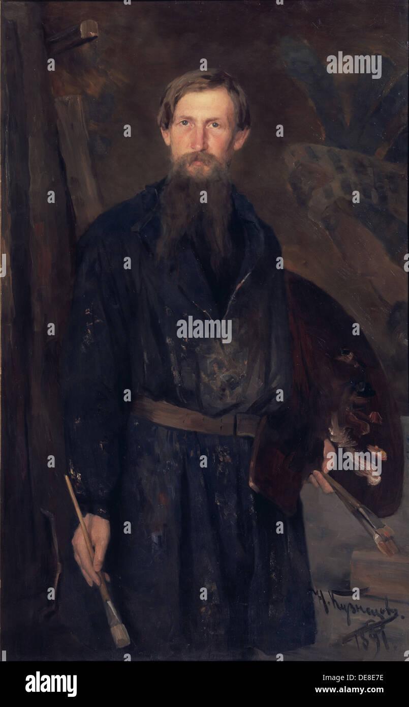 Portrait of the artist Viktor Vasnetsov (1848-1926), 1891. Artist: Kuznetsov, Nikolai Dmitrievich (1850-1929) - Stock Image