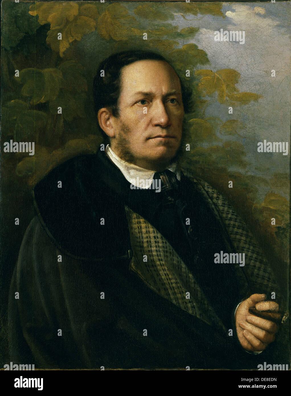 Portrait of Valeryan Zhadovsky, 1843. Artist: Lavrov, Nikolai Andreevich (1820-1875) - Stock Image