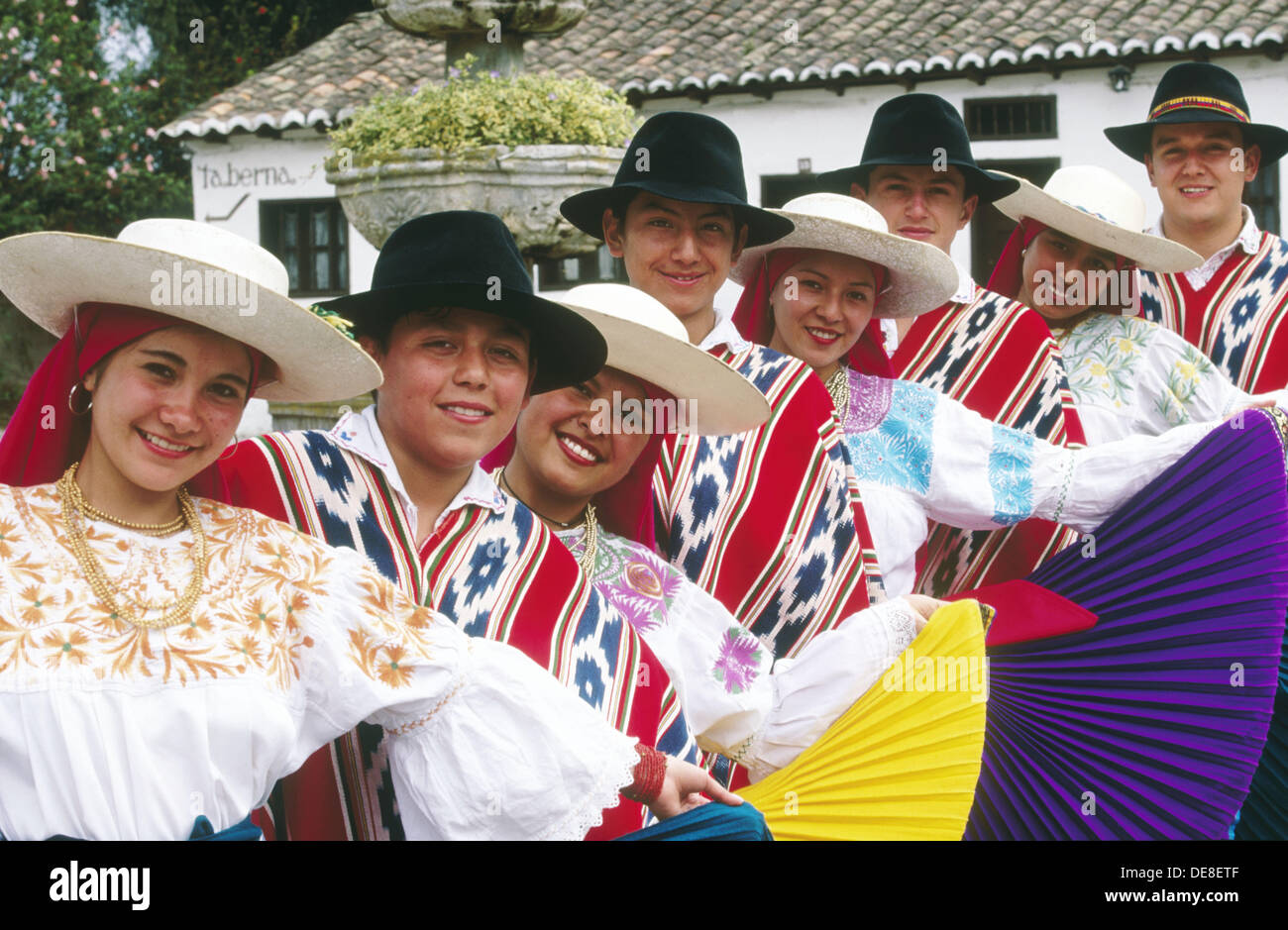 Folk group Nucanchi Llacta with traditional costumes. Zuleta. Imbabura province. Ecuador - Stock Image