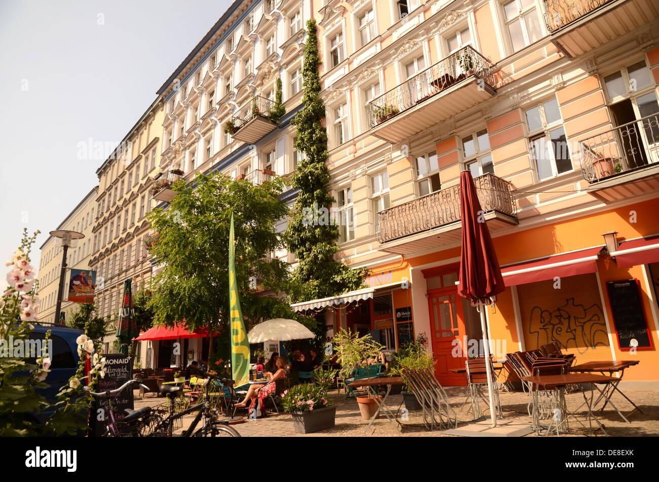 A Pedestrian Street In Prenzlauerberg Berlin Germany Stock Photo