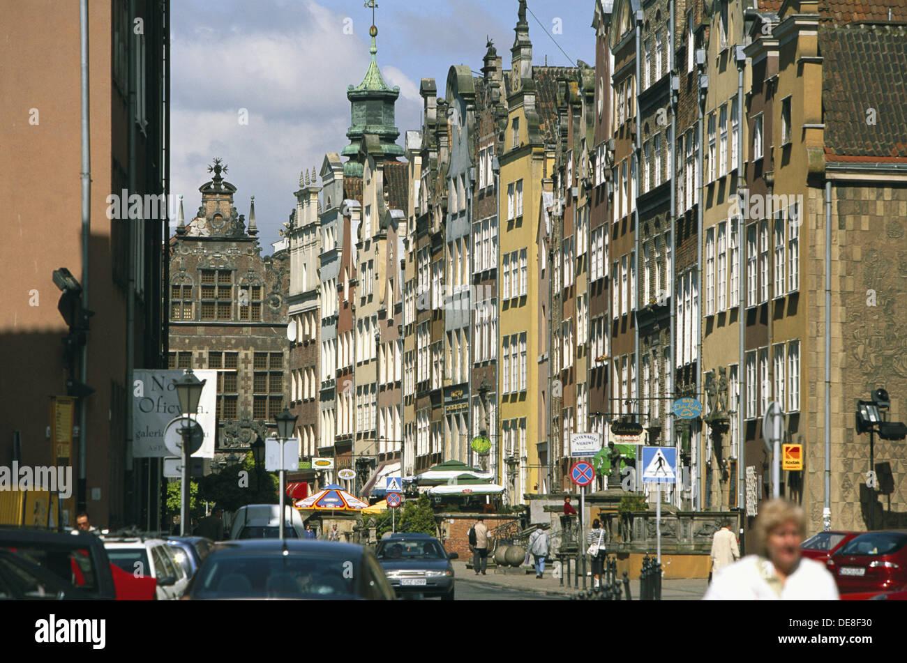 Piwna street with view to great armoury. Gdansk. Pomerania. Poland - Stock Image