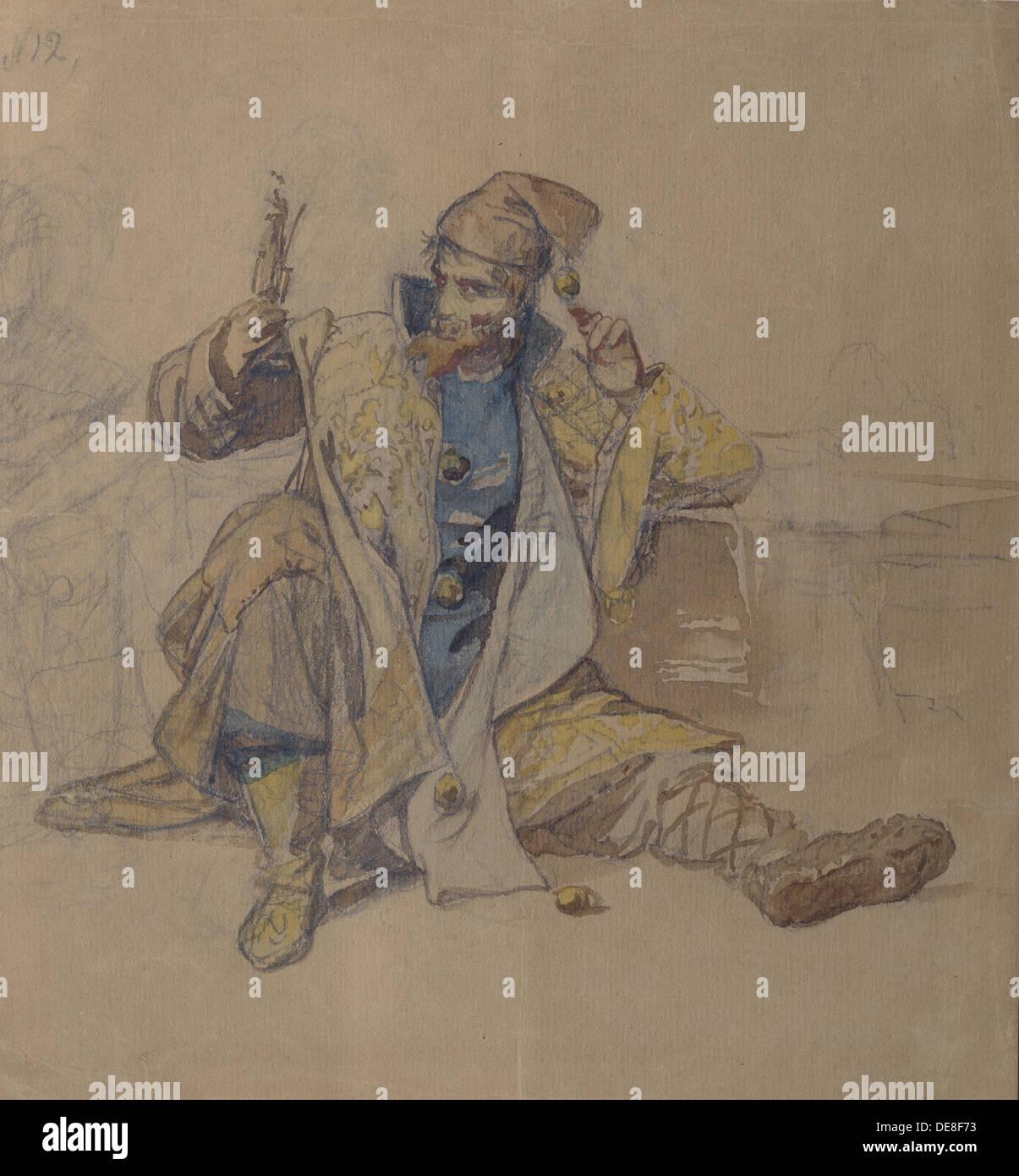 Jester of  Tsar Ivan the Terrible. Artist: Litovchenko, Alexander Dmitrievich (1835-1890) - Stock Image