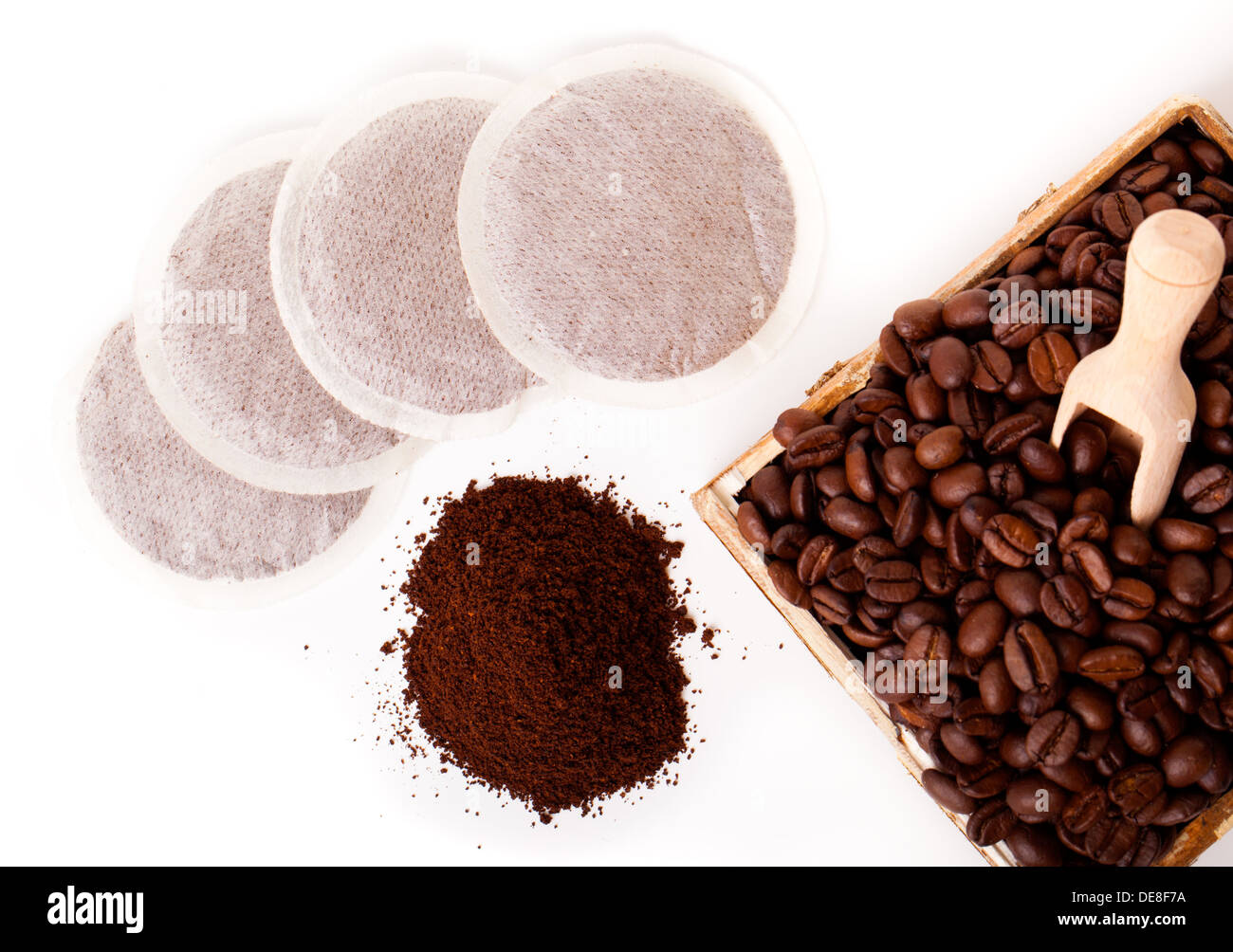Fresh ground coffee with coffee Bean and coffee bags - Stock Image