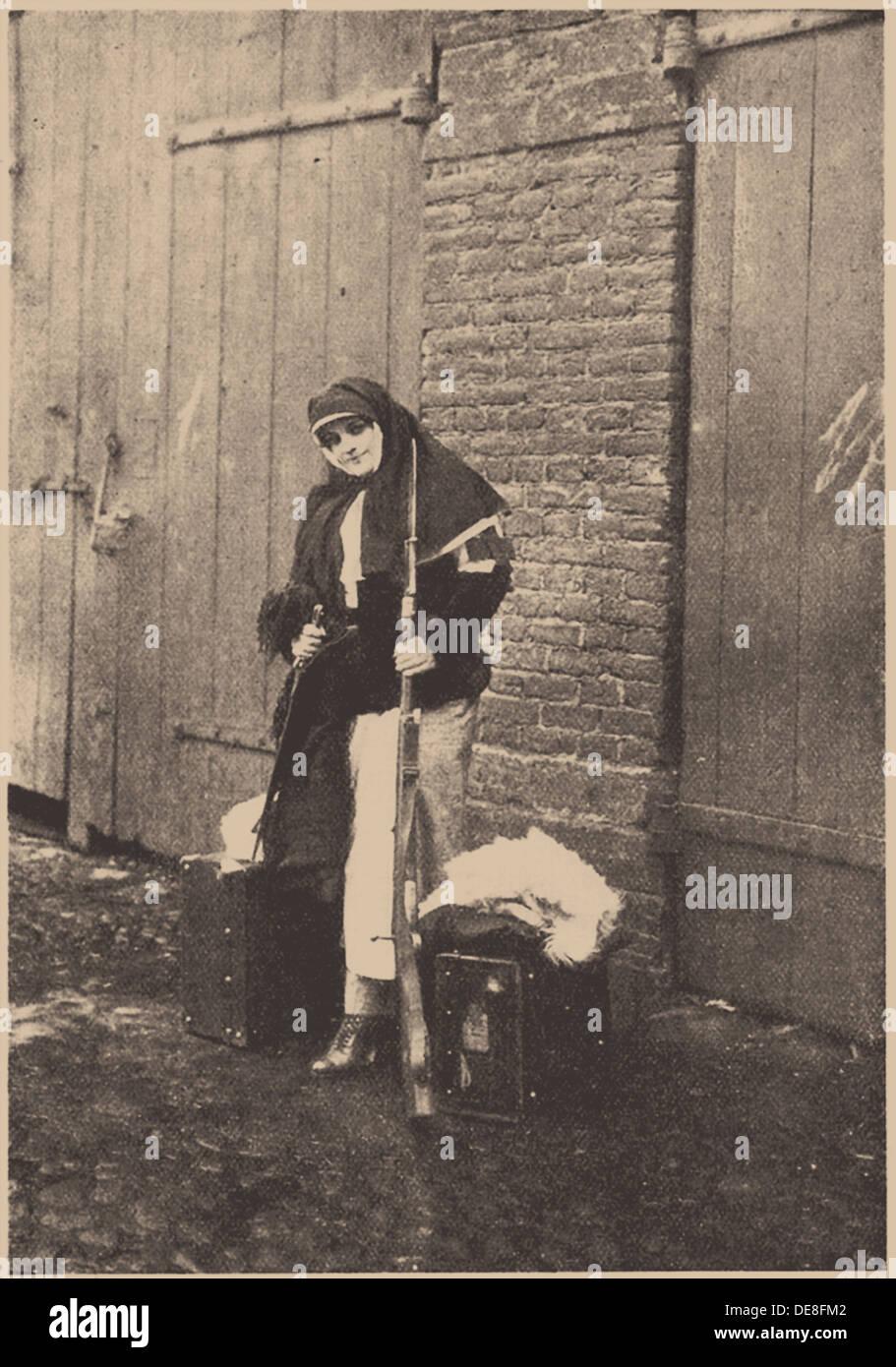Nadezhda Teffi (1872-1952) as Nurse during World War I. Artist: Anonymous - Stock Image