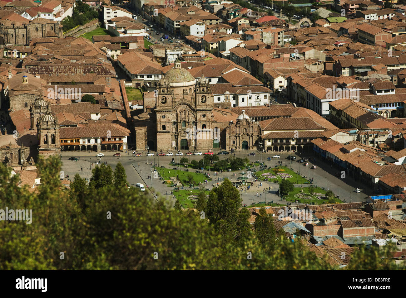 Cathedral and church of the Society of Jesus in Plaza de Armas, Cusco, Peru - Stock Image