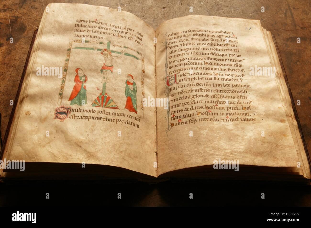 13th century codex in Yuso monastery. San Millan de la Cogolla. La Rioja.  Way to Santiago. Spain. - Stock Image