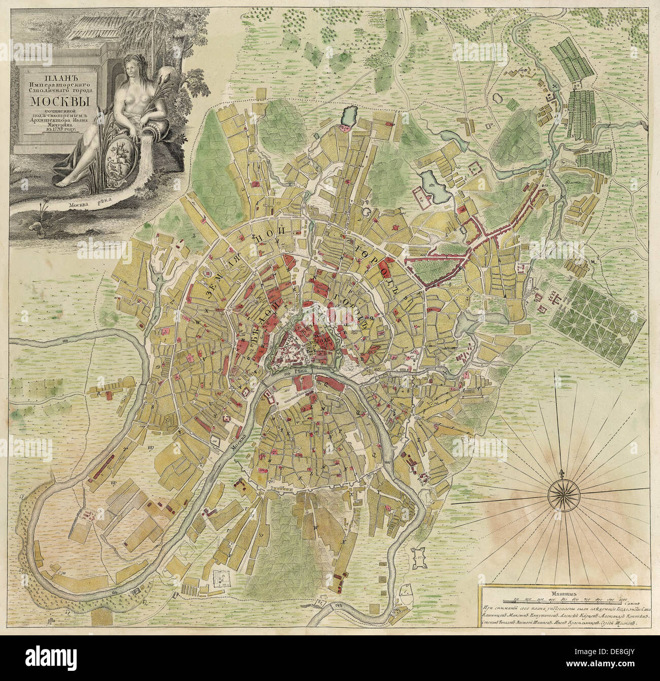Map of Moscow, 1739. Artist: Michurin, Ivan Fyodorovich (1700-1763) - Stock Image