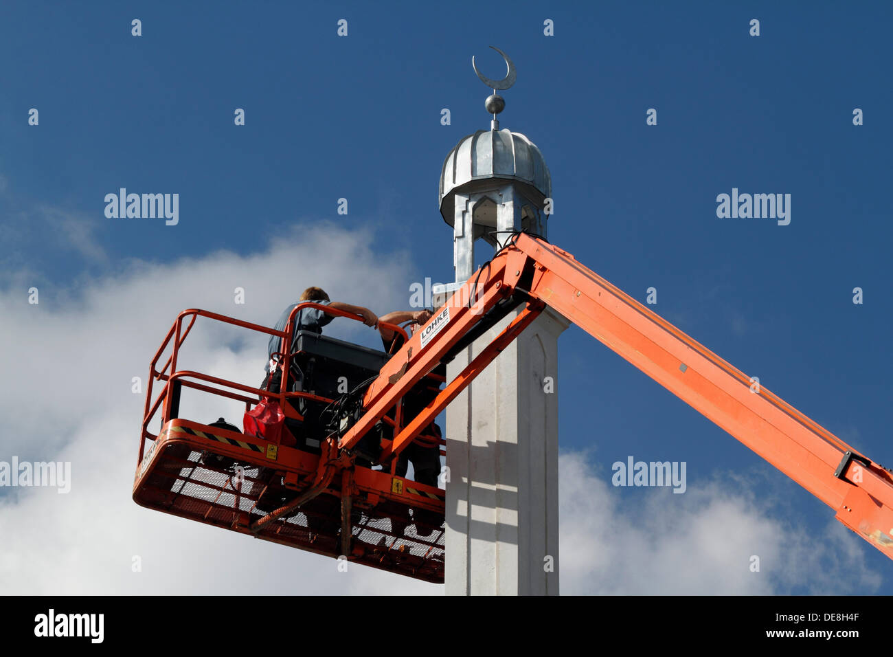Copenhagen, Denmark, 13th Sept. 2013. Finishing touch to the 20m tall minaret on the nearly finished Grand Mosque - Stock Image