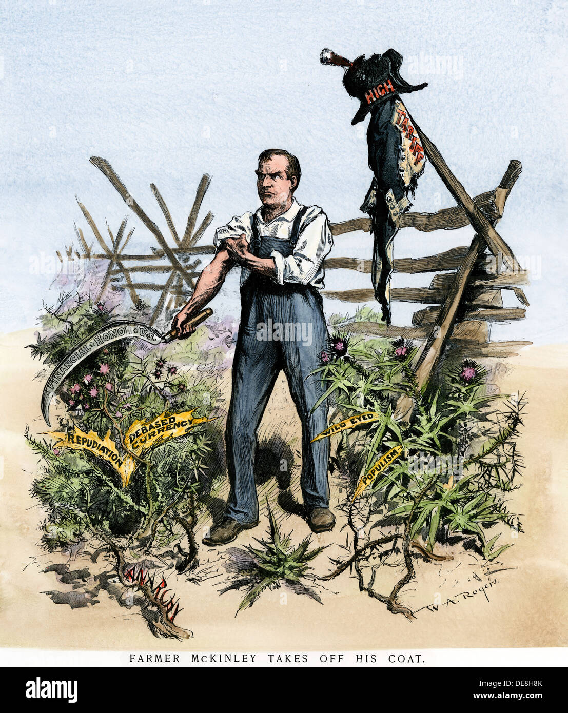 'Farmer McKinley Takes Off His Coat' cartoon about President McKinley weeding out problems, 1896. Hand-colored woodcut - Stock Image