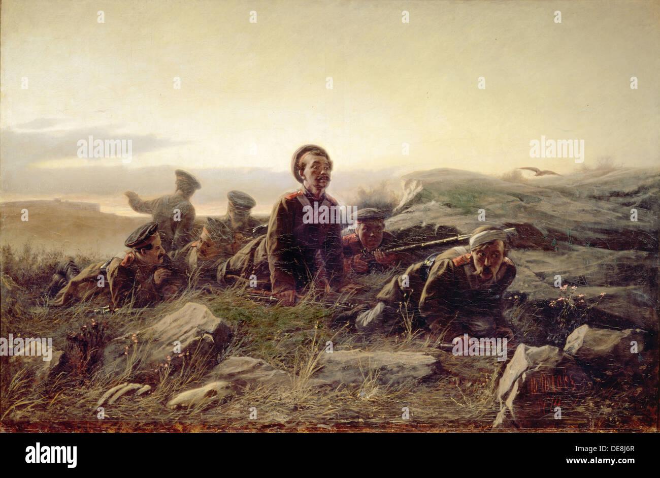 Plastuns at Sevastopol, 1874. Artist: Perov, Vasili Grigoryevich (1834-1882) - Stock Image