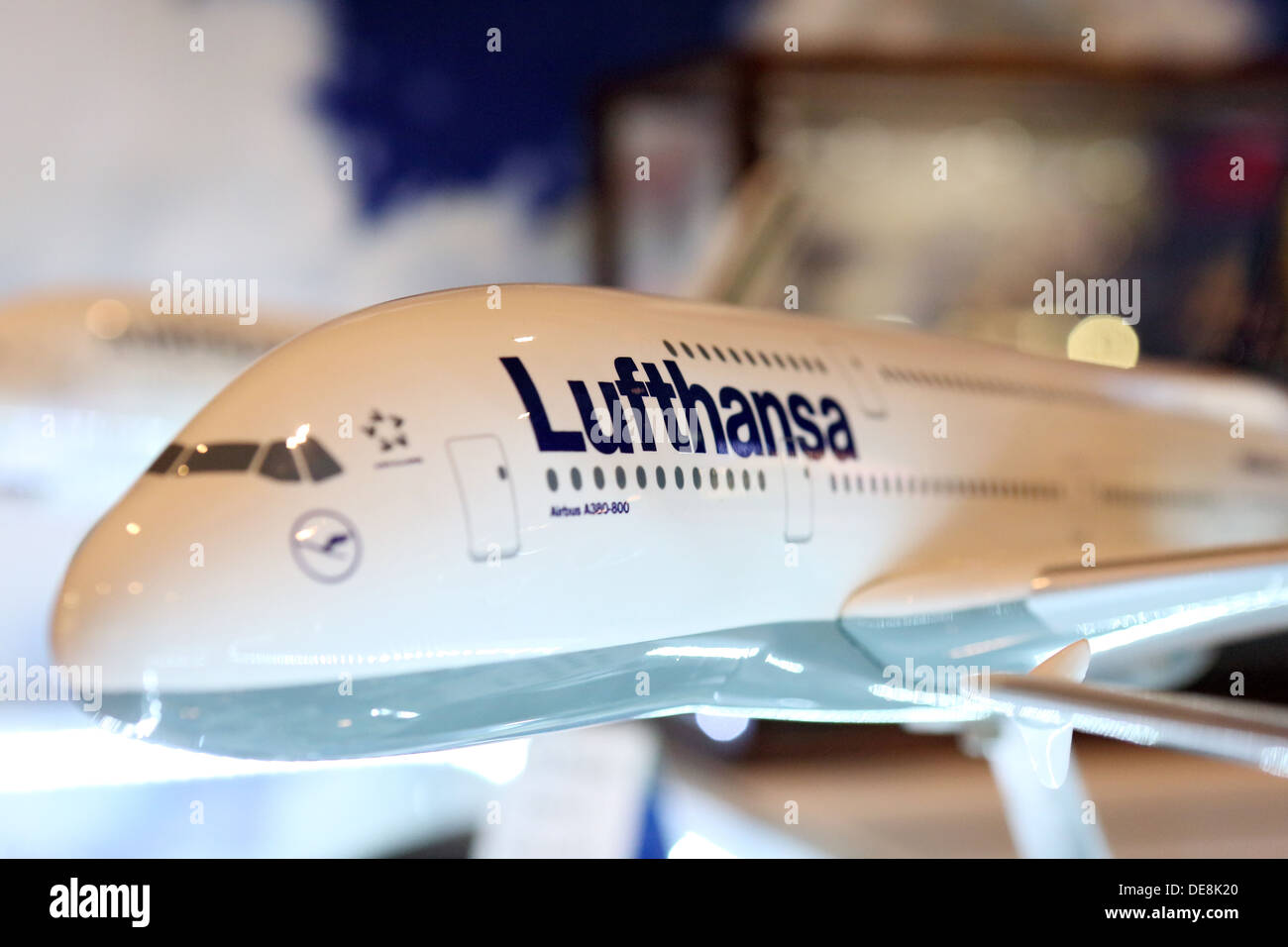 Dubai, United Arab Emirates, model aircraft in the Lufthansa - Stock Image