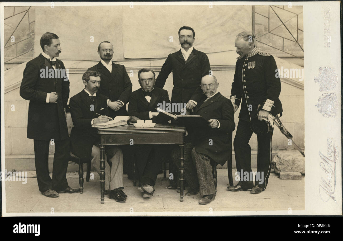 The members of the First International Olympic Committee. Athens, Greece, 1896. Artist: Meyer, Albert (1857–1924) - Stock Image