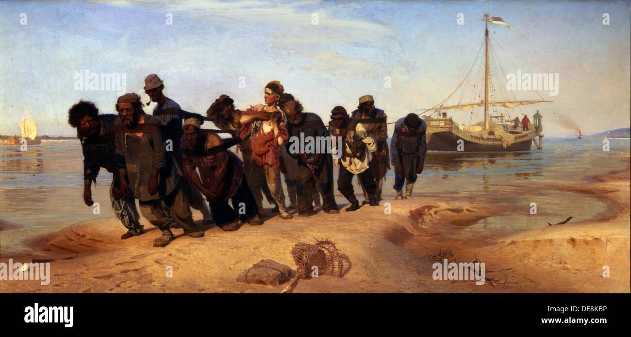 Barge Haulers on the Volga, 1872-1873. Artist: Repin, Ilya Yefimovich (1844-1930) - Stock Image