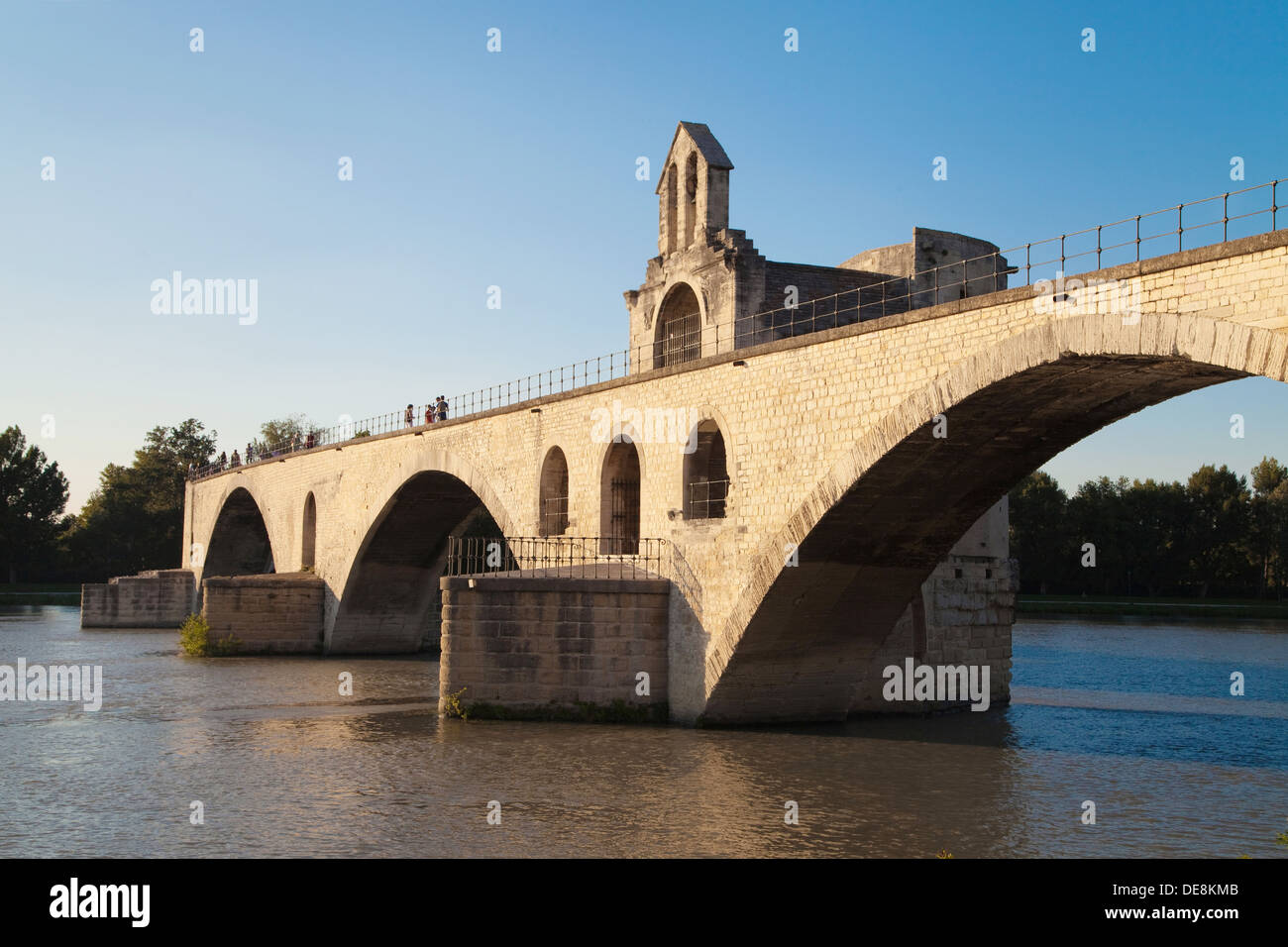 Pont Saint Benezet over Rhone river in Avignon, Provence, France. - Stock Image
