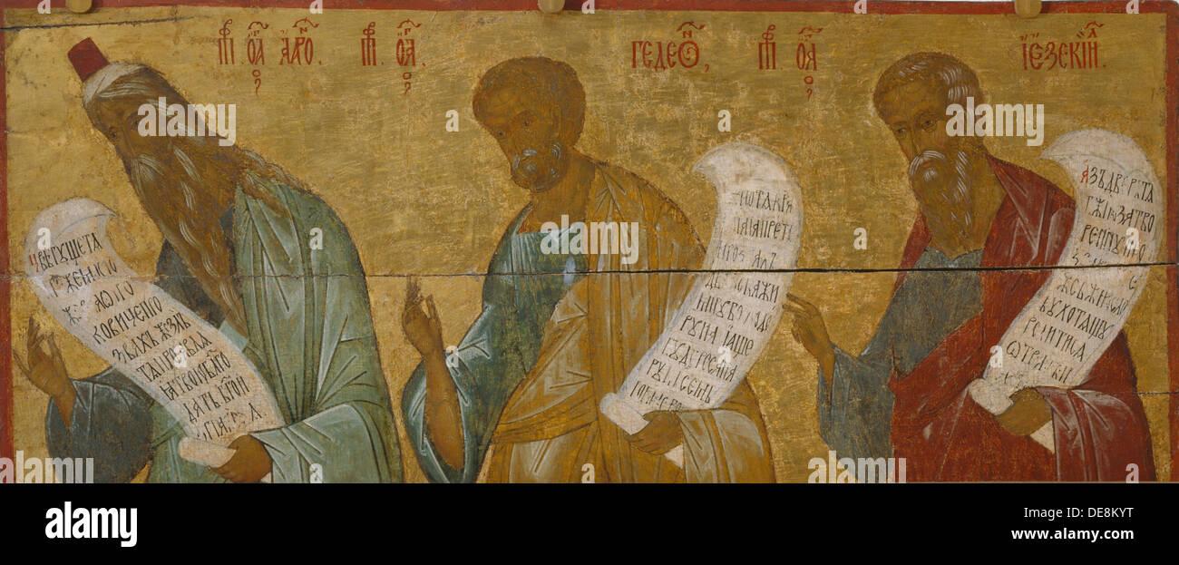 The Prophets Aaron, Gideon and Ezekiel, c. 1502-1503. Artist: Russian icon - Stock Image