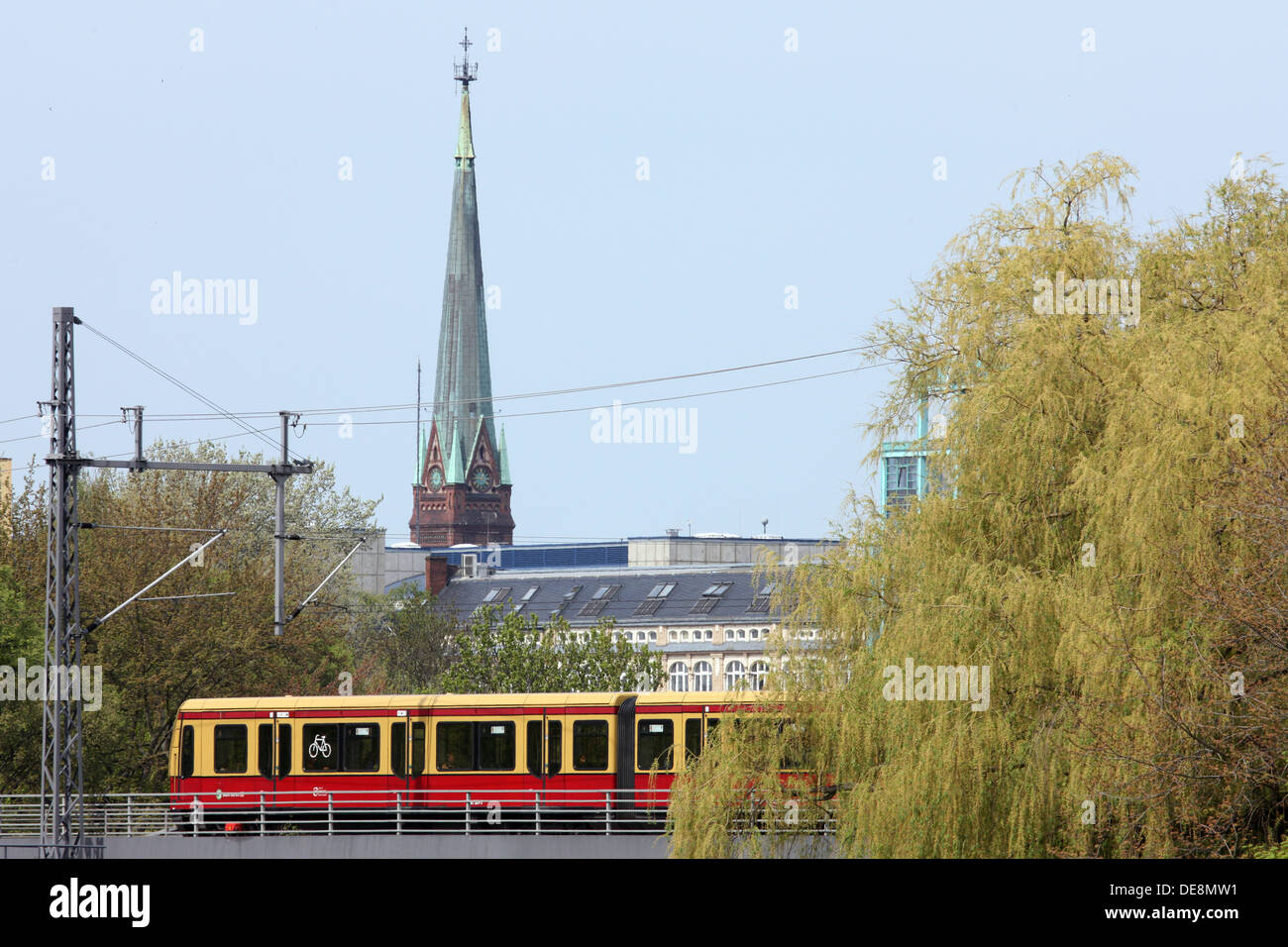 Berlin, Germany, S -Bahn train on the rail line - Stock Image