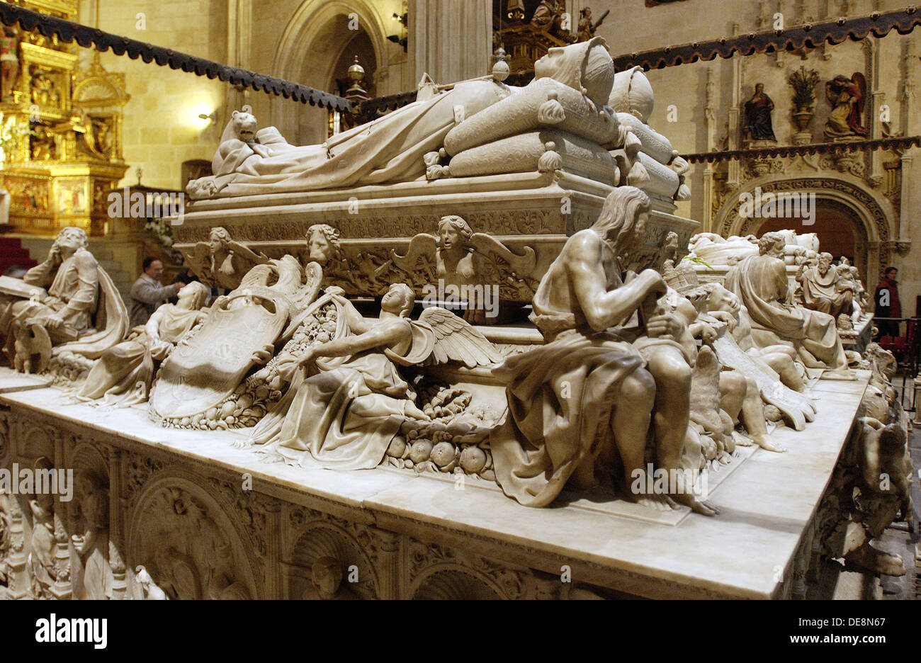 Catholic Monarchs´ sepulchre by Domenico Fancelli (16th century) in the Royal Chapel of the cathedral. Granada. Spain - Stock Image