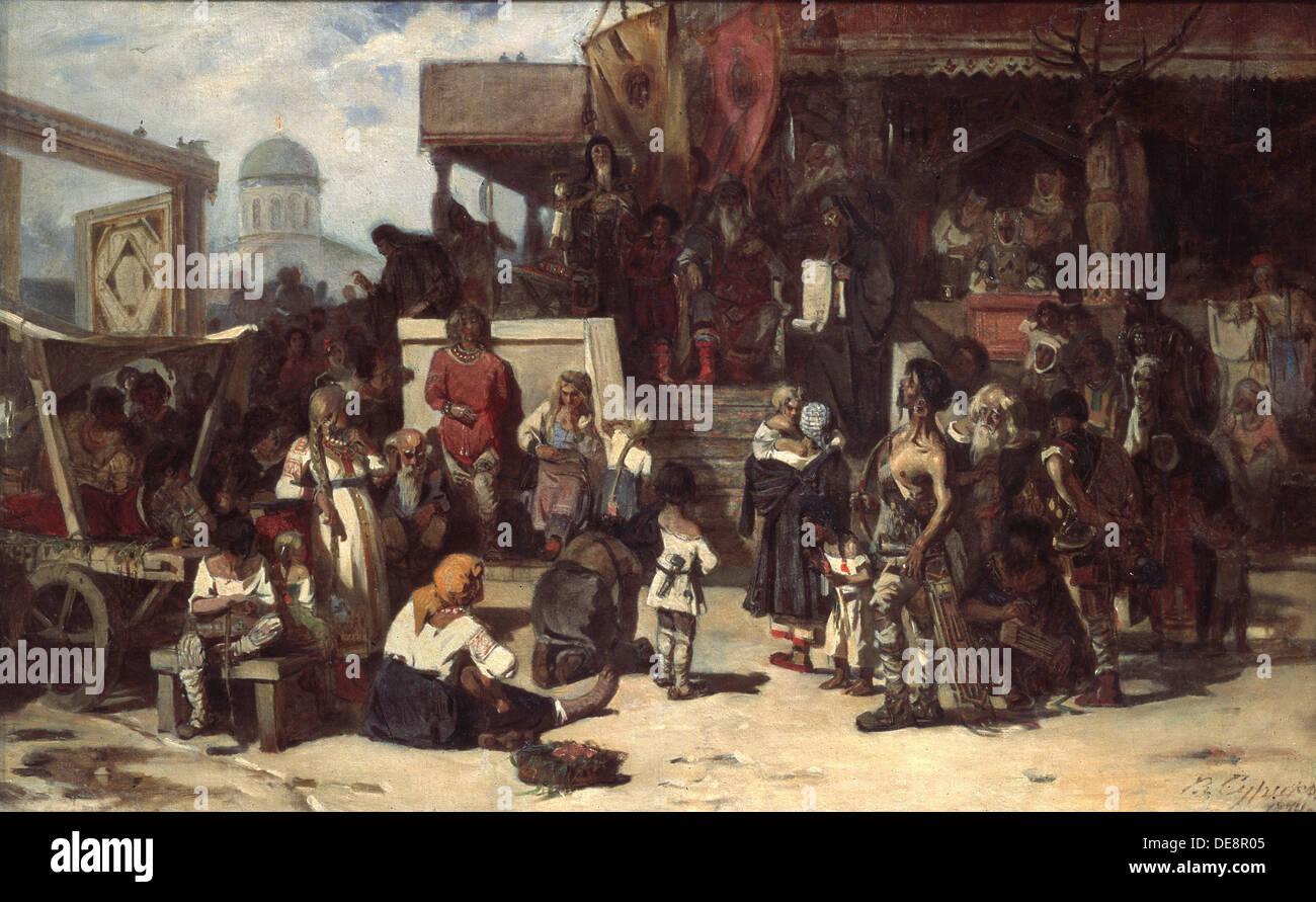 The Judgement of of Grand Prince, 1874. Artist: Surikov, Vasili Ivanovich (1848-1916) - Stock Image