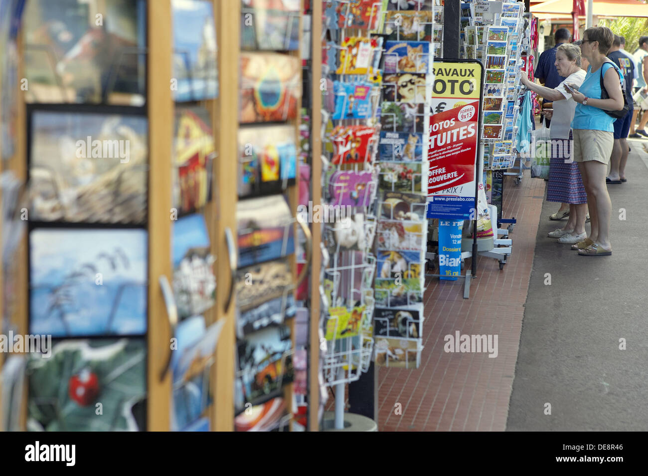 Postal cards for sale, Hendaye. Aquitaine, Atlantic Pyrenees. France - Stock Image