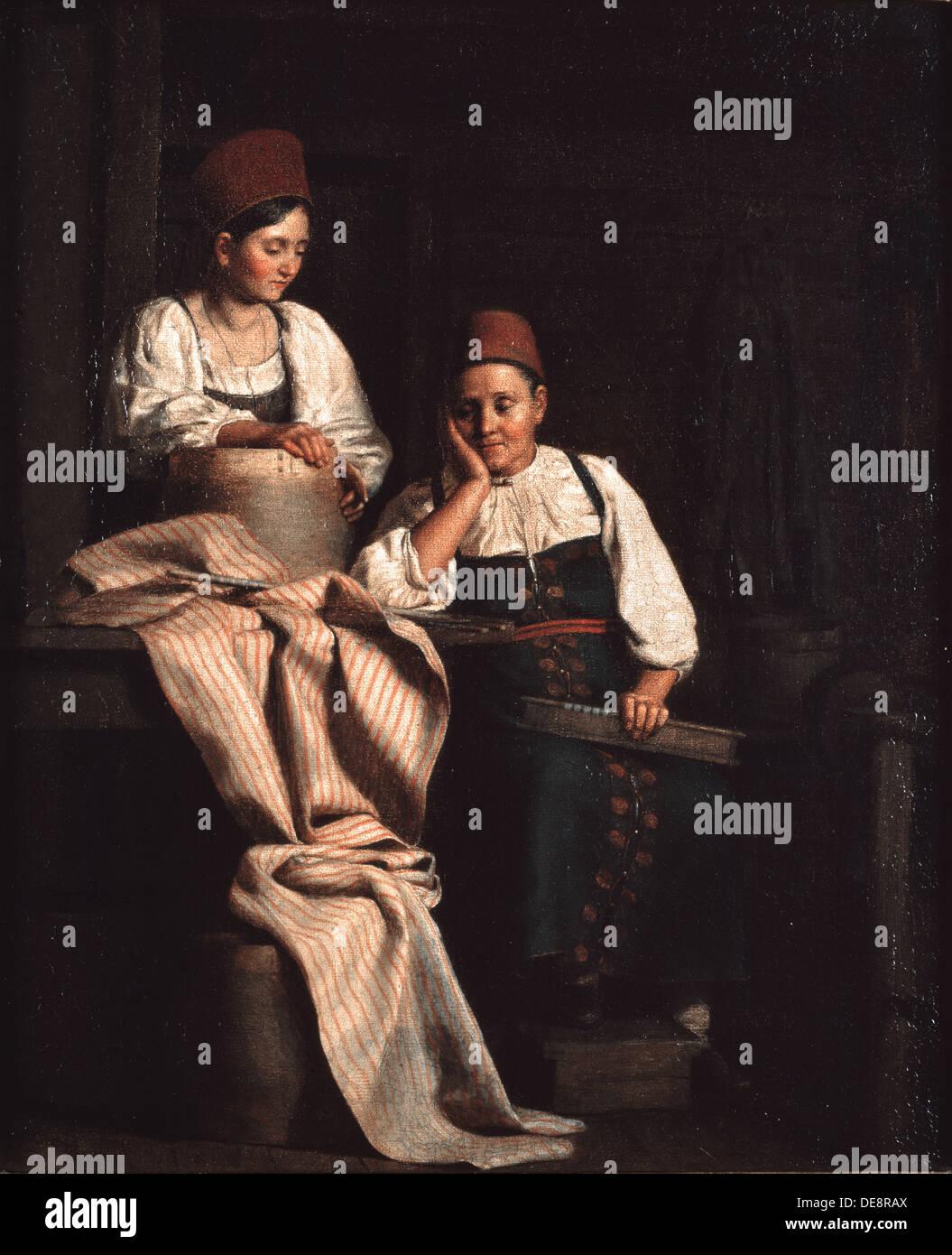 Weavers. Artist: Tyranov, Alexei Vasilyevich (1808-1859) - Stock Image