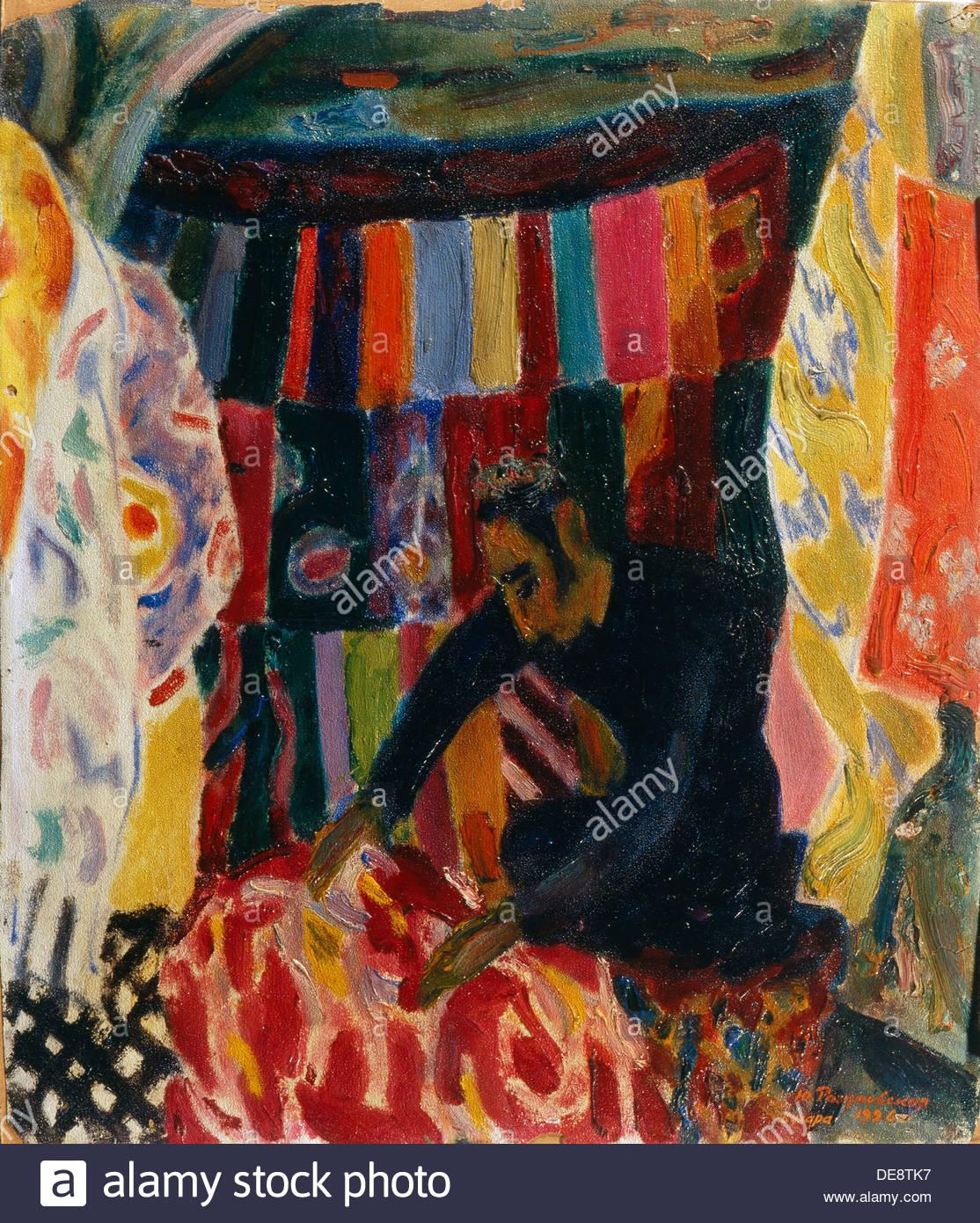 Bukhara. The Silk Seller, 1926. Artist: Razumovskaya, Julia (1896-1987) - Stock Image