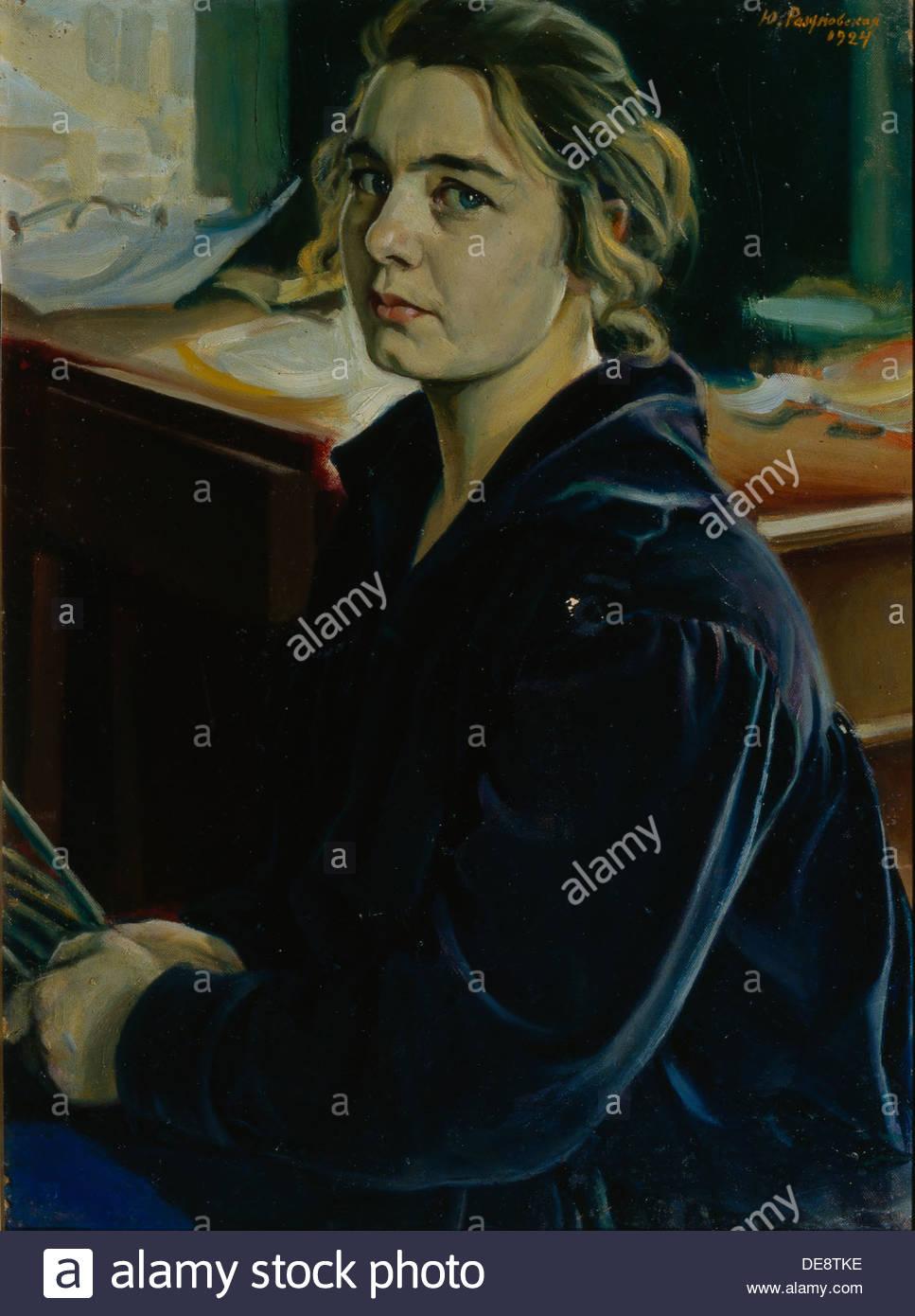 Self-Portrait, 1924. Artist: Razumovskaya, Julia (1896-1987) - Stock Image