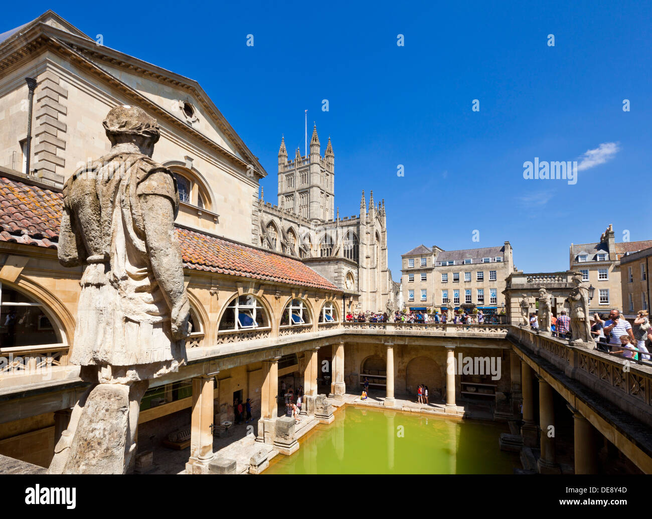 The Roman Baths, the great bath, the only hot springs in the UK, Bath city centre north east Somerset England UK GB EU Europe - Stock Image