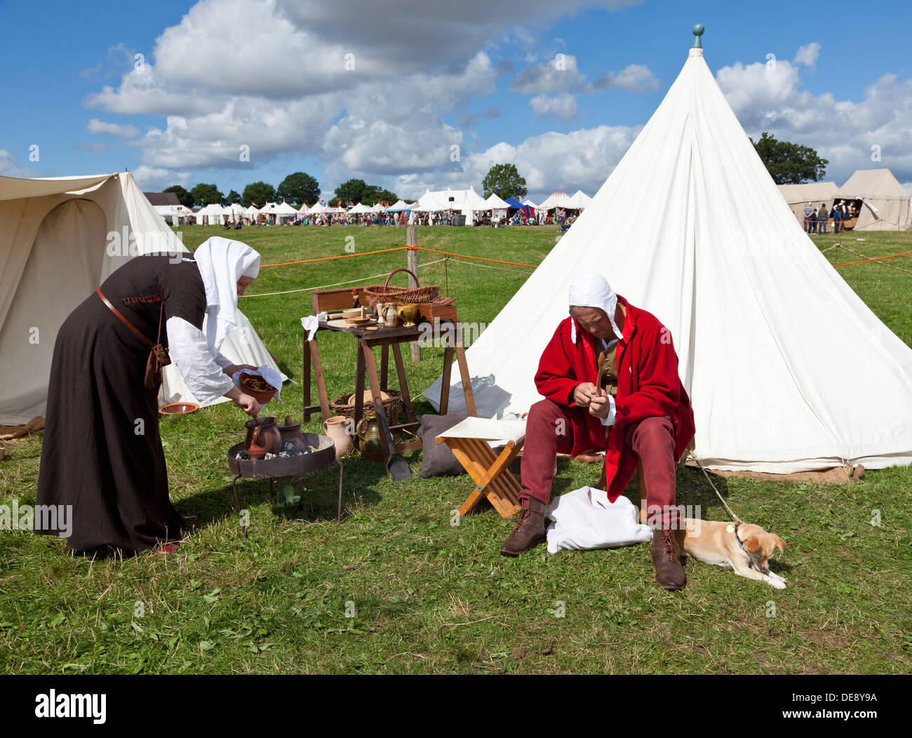 Wars of the Roses Federation followers at the Battle of Bosworth re-enactment Hinckley Leicestershire England GB UK EU Europe - Stock Image