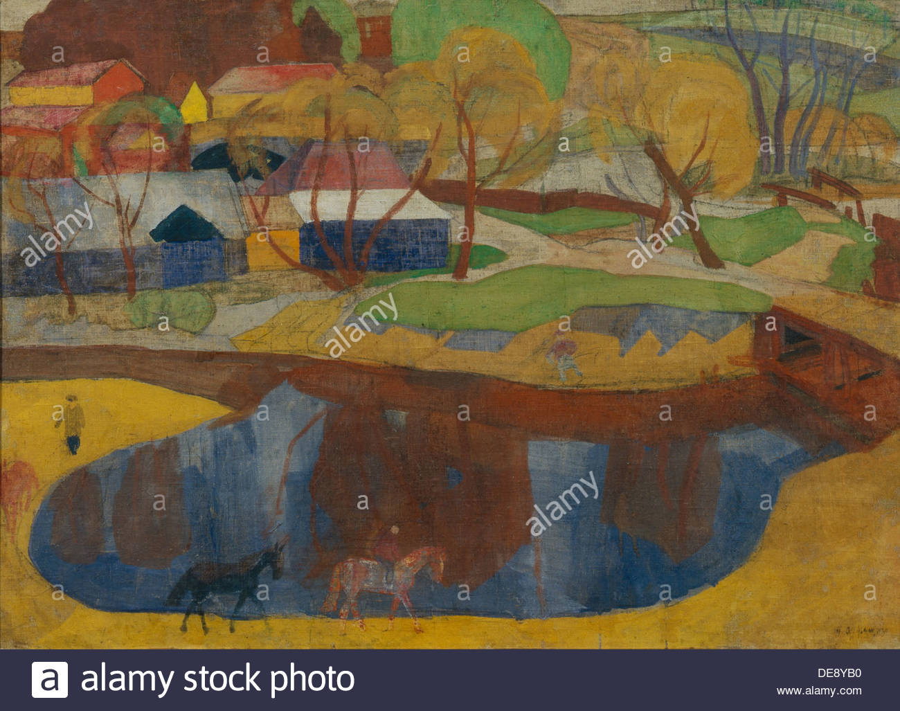 A mill pond, 1920. Artist: Frenz, Rudolph Rudolphovich (1888-1956) Stock Photo