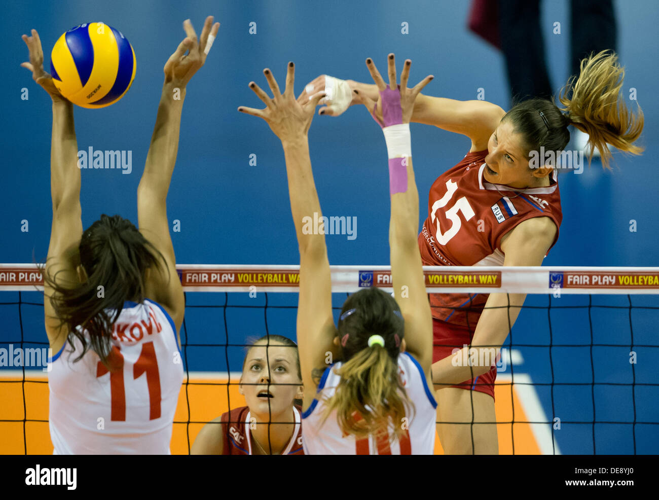 Tatjana Koshelewa (R) of Russia in action during their