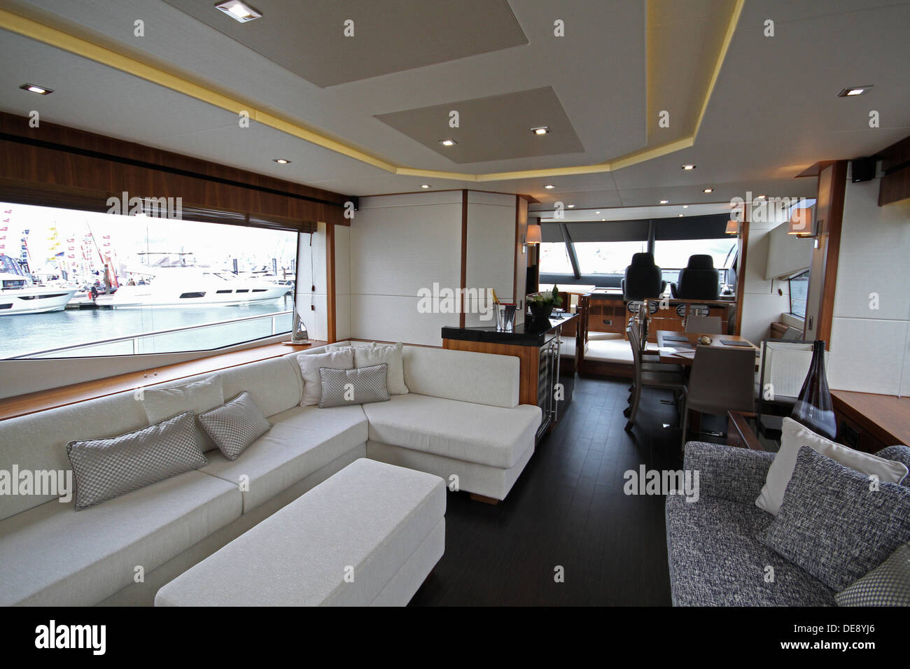 Southampton,13th September 2013,Living area on board the Sunseeker 7 Credit: Keith Larby/Alamy Live News - Stock Image