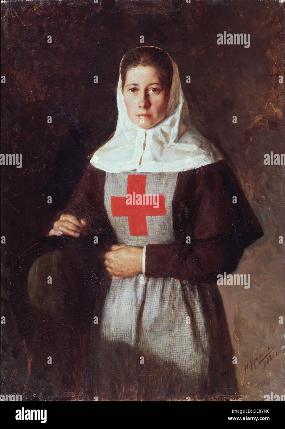 A nurse, 1886. Artist: Yaroshenko, Nikolai Alexandrovich (1846-1898) - Stock Image