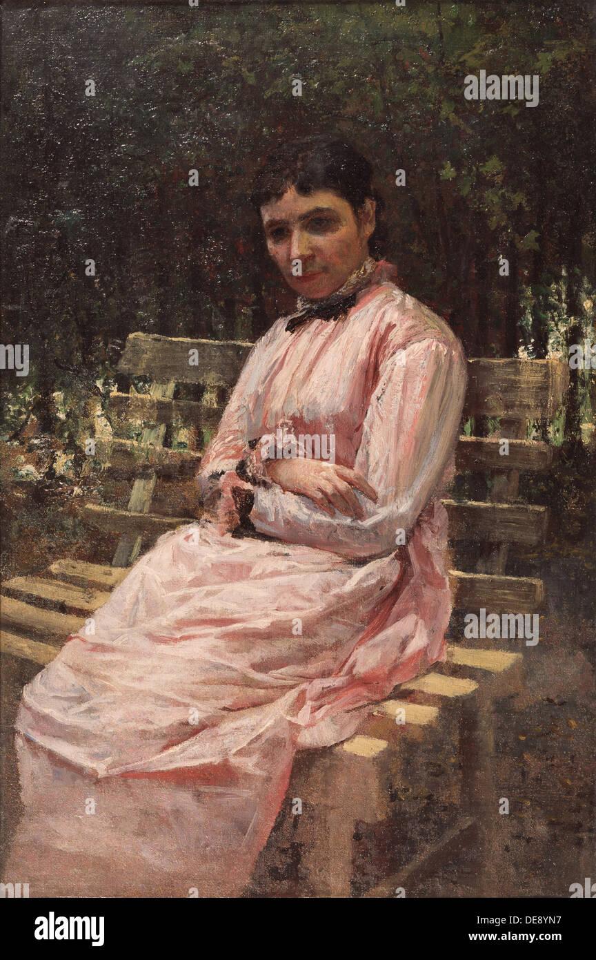 In a park. (Portrait of the artist's wife). Artist: Yaroshenko, Nikolai Alexandrovich (1846-1898) - Stock Image