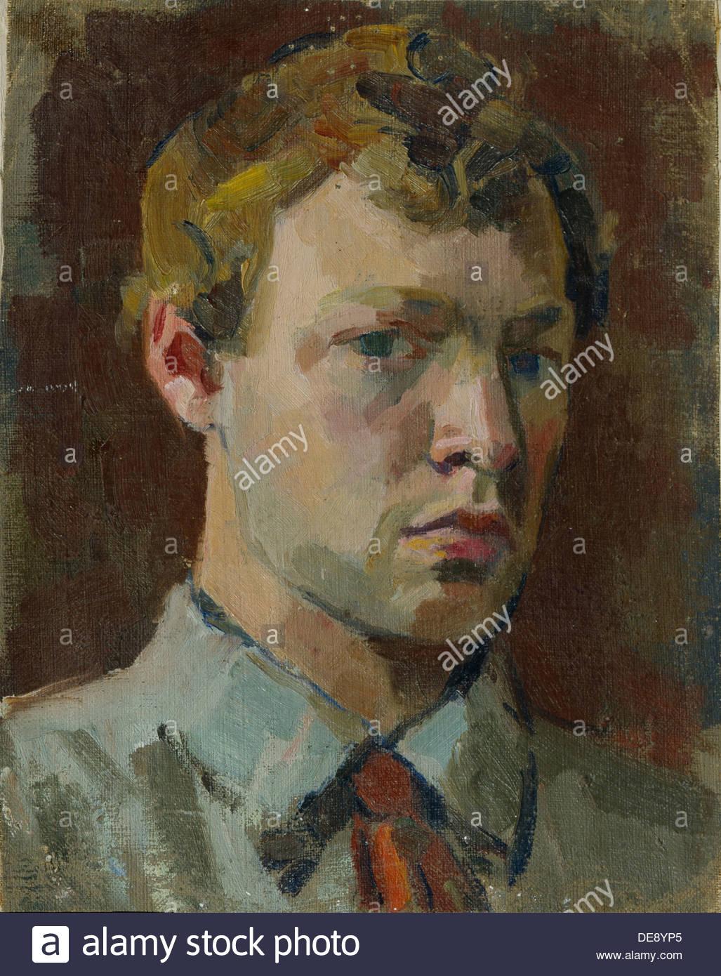 Self-Portrait, 1920s. Artist: Luppov, Sergei Mikhaylovich (1893-1977) - Stock Image