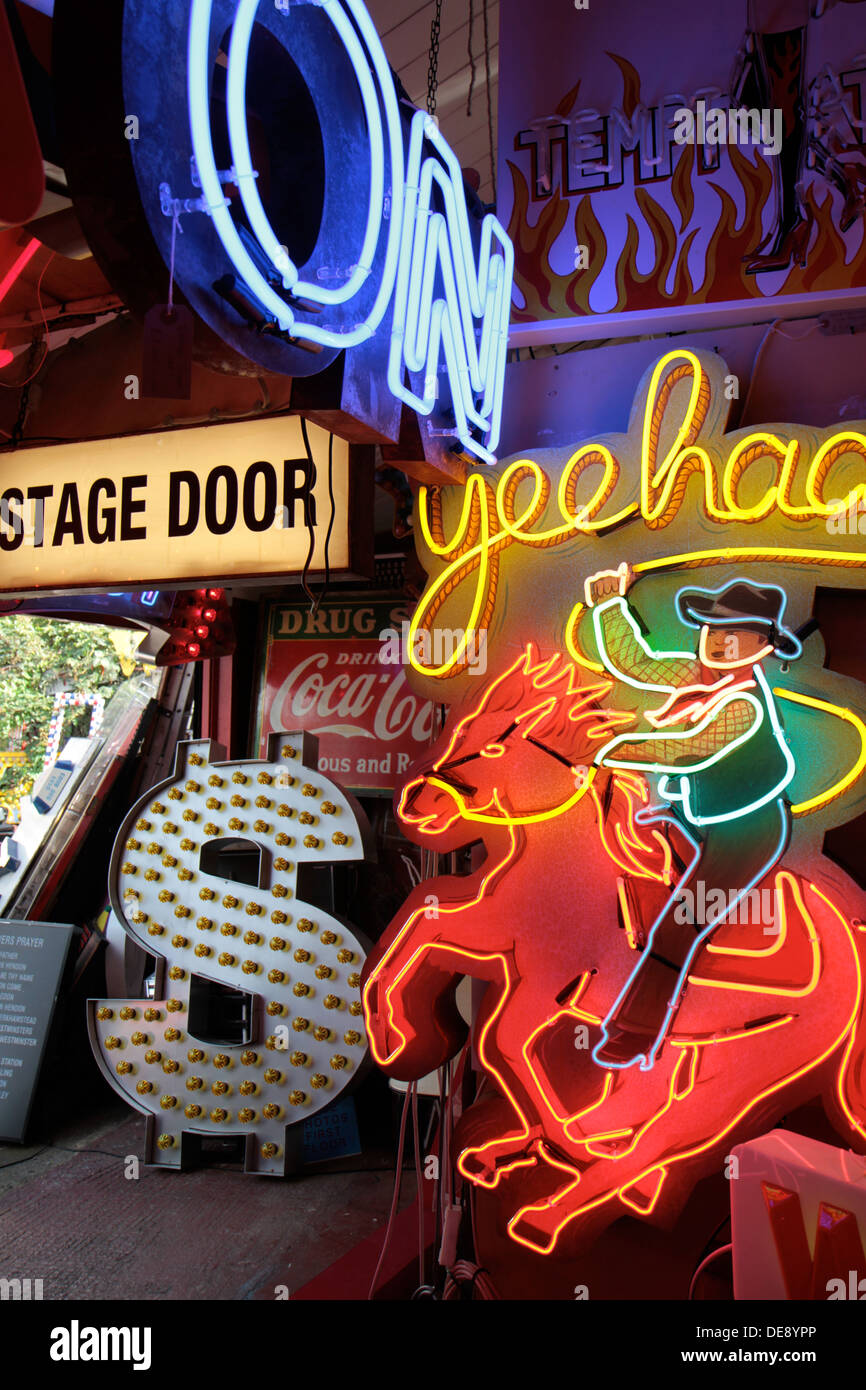 Display of neon signs inside Gods Own Junkyard, Walthamstow, London, UK - Stock Image