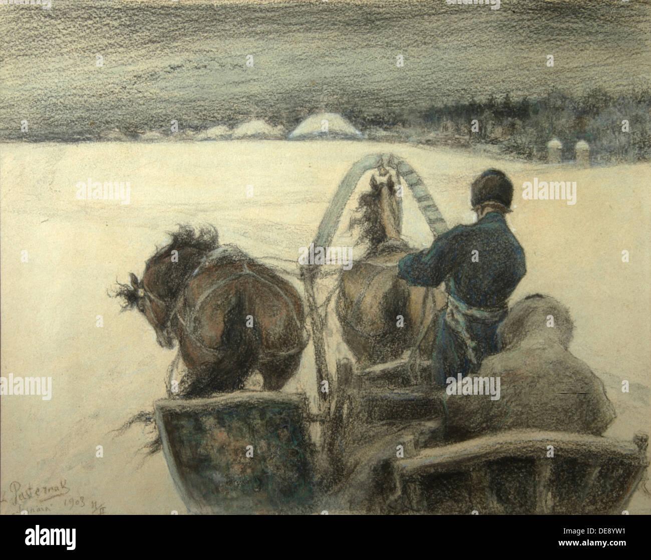 On the Road to Yasnaya Polyana, 1903. Artist: Pasternak, Leonid Osipovich (1862-1945) Stock Photo