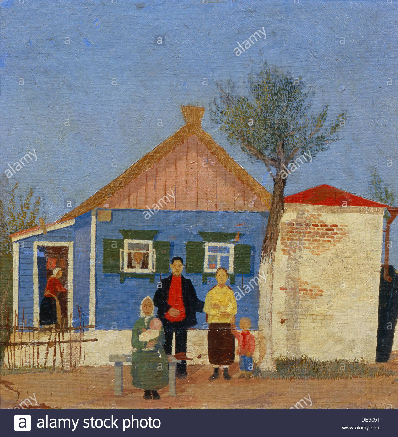 Before the house. Artist: Yermolaev, Boris Nikolayevich (1903-1982) - Stock Image