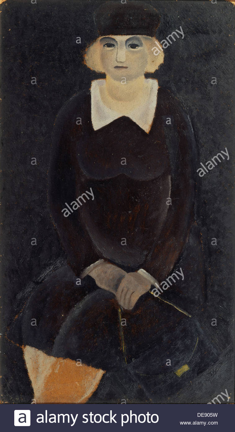 Woman in Black, 1933. Artist: Yermolaev, Boris Nikolayevich (1903-1982) - Stock Image