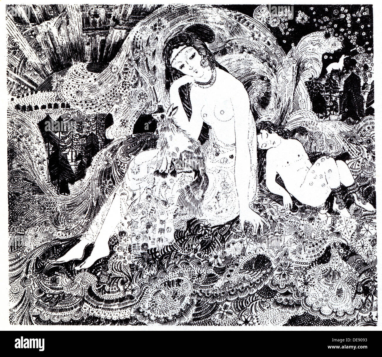 The Snow Queen. Symbolist magazine Vesy (The Balance), 1908. Artist: Arapov, Anatoli Afanasyevich (1876-1949) - Stock Image