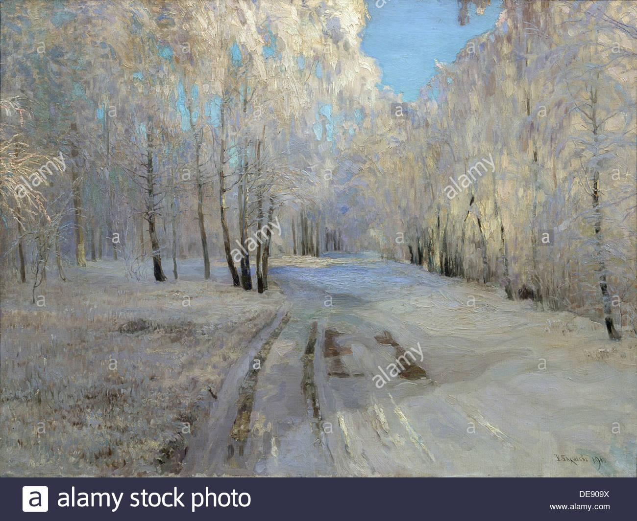 Hoarfrost, 1900. Artist: Baksheev, Vasili Nikolayevich (1862-1958) - Stock Image