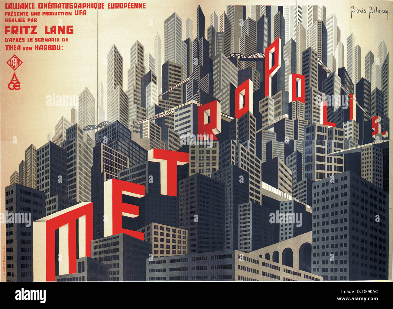 Movie poster Metropolis by Fritz Lang, 1926. Artist: Bilinsky, Boris Konstantinovich (1900-1948) - Stock Image