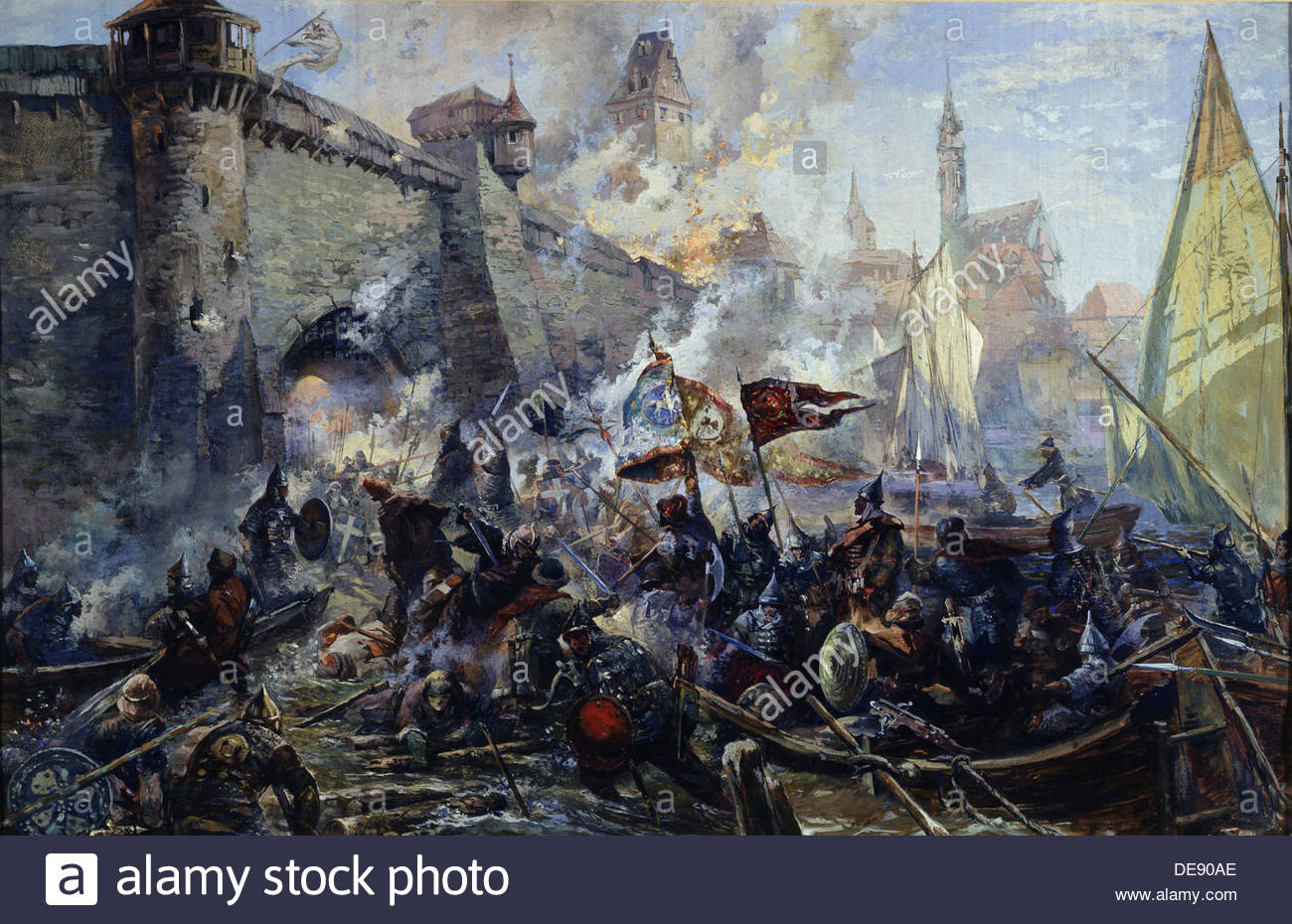The Russian Army capturing Narva on May 11, 1558, 1956. Artist: Blinkov, Alexander Alexandrovich (1911-1995) - Stock Image