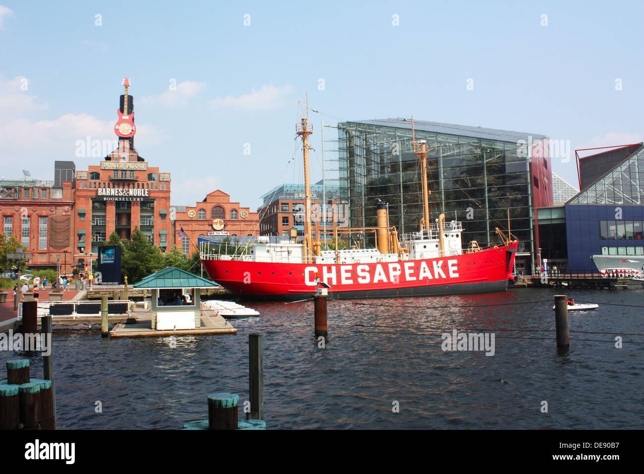 Red Chesapeake ship in Baltimore, Maryland, USA Stock Photo