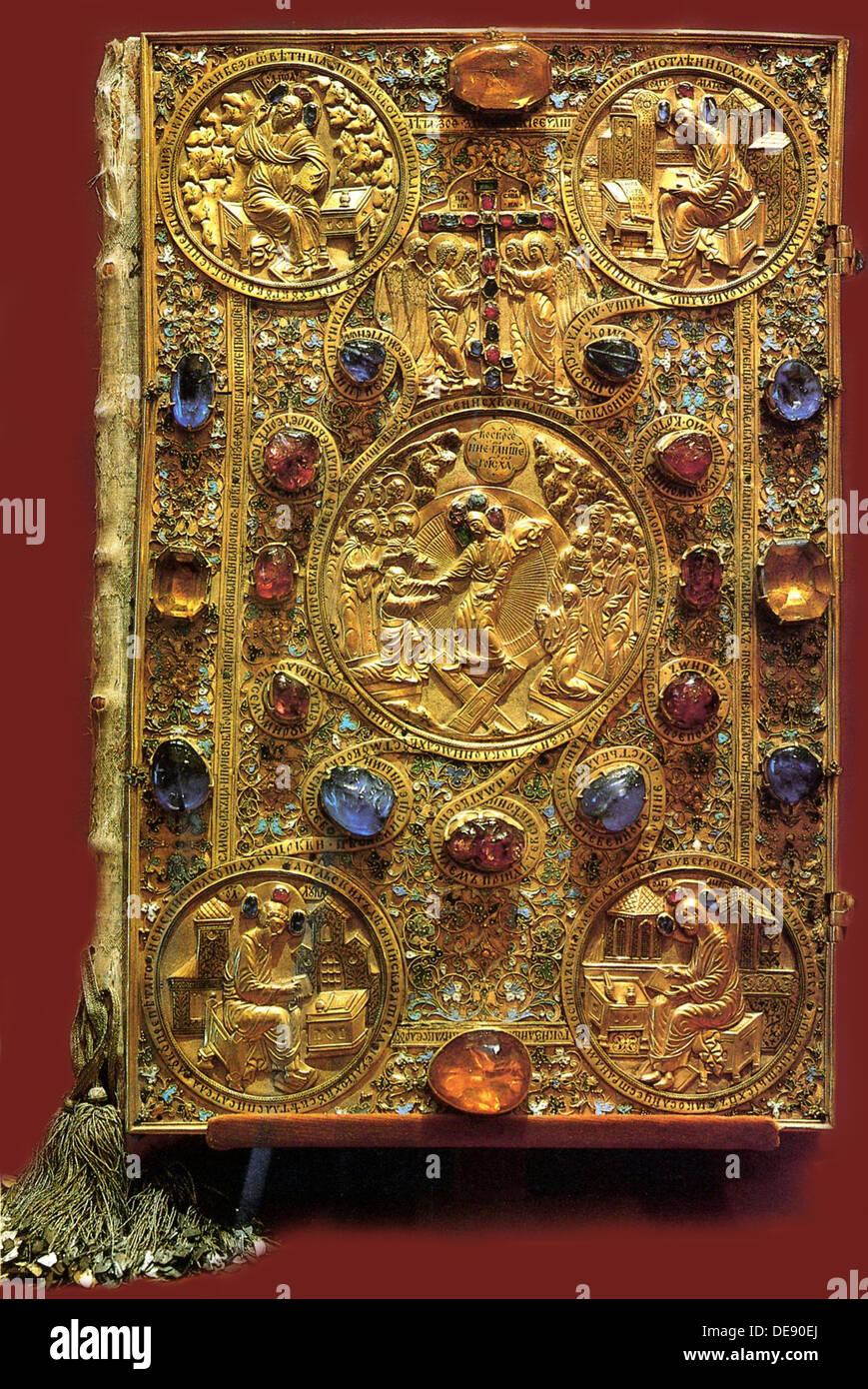 The Gospel Book of the Tsar Ivan IV the Terrible, 1571. Artist: Ancient Russian Art - Stock Image